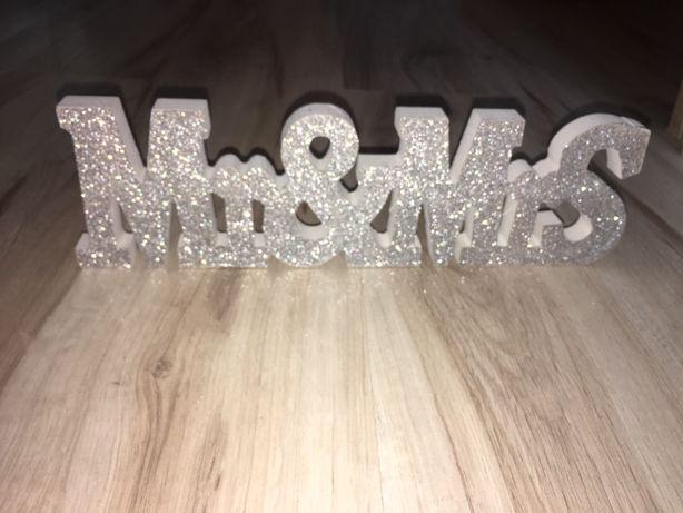 Napis dekoracyjny na ślub Mr&Mrs