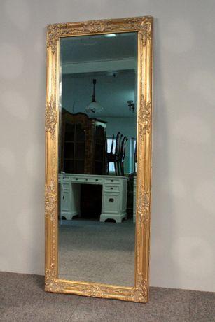 Stylowe Lustro ze Szlifem w Złotej Ramie-132x52cm