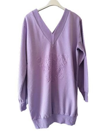 Oversize* S-XL Wrzosowa Bluza w serek przód/tył *wytłaczany TYGRYS