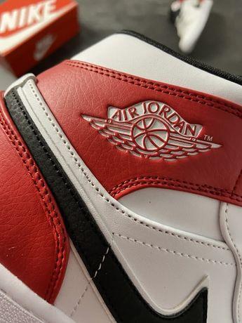 Кроссовки Nike Air Jordan 1 White Red/аир джордан/найк/джорданы