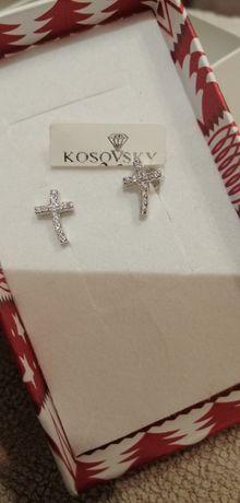 NOWE kolczyki srebrne cyrkonie krzyż kosovsky