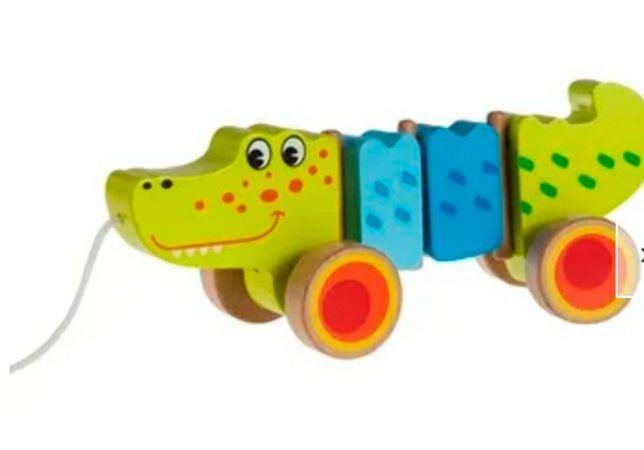 ! Krokodyl na sznurku drewniany pchacz Montessori zabawka smyk smiki