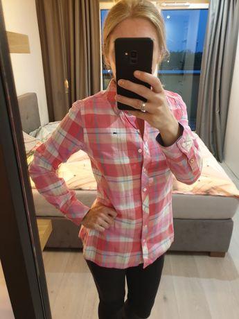 Koszula Tommy Hilfiger rozmiar S w kratę kratkę różowa niebieska lekka