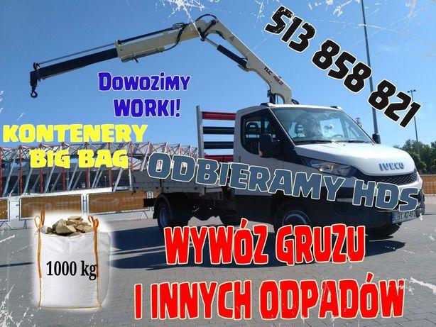 Wywóz gruzu gruz kontener big bag remont odpady transport HDS
