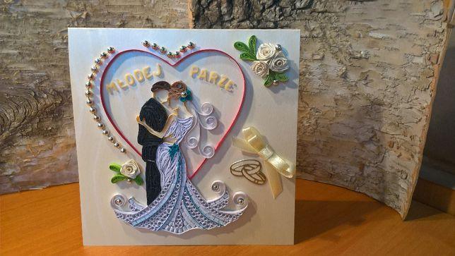 Kartki Ślubne, ręcznie robione, quilling