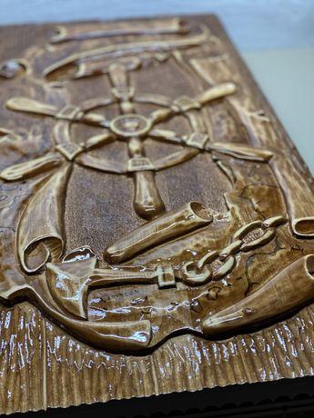 """Деревянные нарды ручной наботы """"Книга пирата"""" резьба по дереву"""