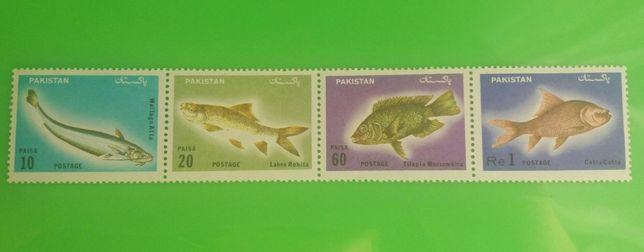 Znaczki - zestaw 4 szt / Ryby Pakistan