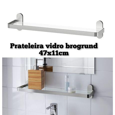 Prateleira vidro WC casa banho ikea brogrund estante parede