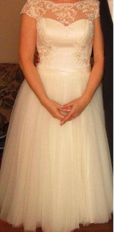 Suknia ślubna Afrodyta, długość 7/8, rozmiar 38.