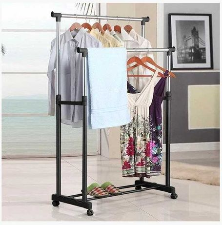 Стойка-вешалка для одежды и обуви на колесах для дома магазина офиса