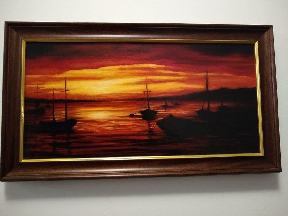 Obraz olejny na płótnie, Marynistyka, zachód słońca Tarnowskie Góry - image 1