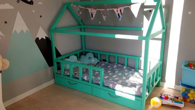 Łóżko domek dziecięce 140X80 BARIERKI+STELAŻ HIT
