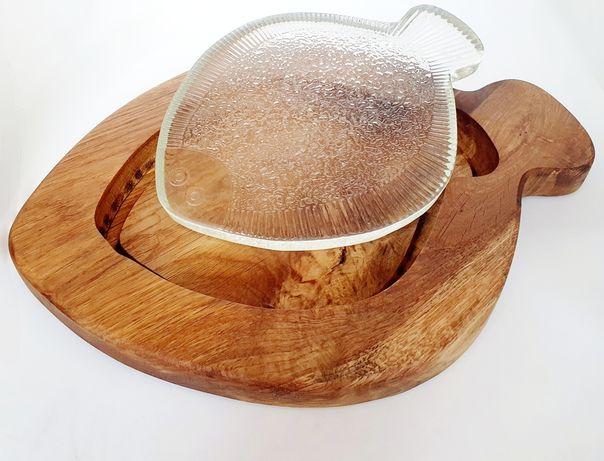 Dębowa deska do krojenia + flądra Ząbkowicka szkło rezerwacja