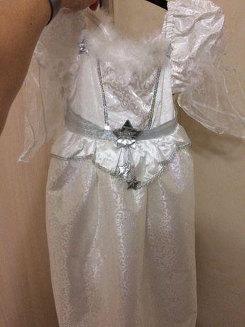 Платье праздничное на девочку на Новый год, утренник снежинка ангел