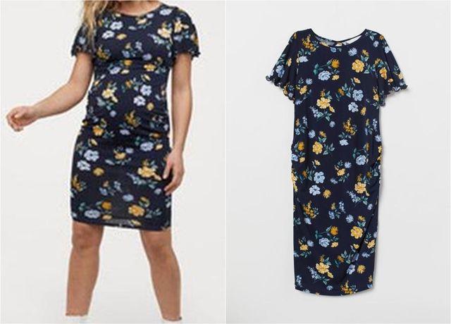 Nowa ciążowa sukienka w kwiaty ciąża H&M Mama - M