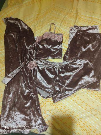 Женская пижама 50размер велюр бархат из 4 предметов 1400 руб описание