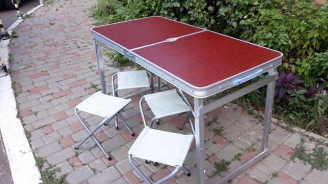 Стол для пикника и 4 стула + Зонт. УСИЛЕННЫЙ столик раскладной складно