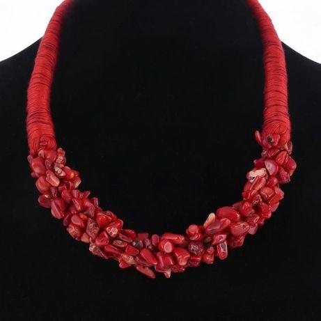 koral prawdziwy czerwony naszyjnik kolia bardzo elegancki nowy