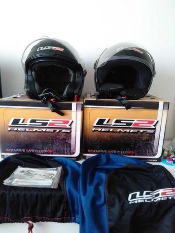 Komplet kaski motocyklowe LS 2 rozmiar L i XS. Stan bardzo dobry.