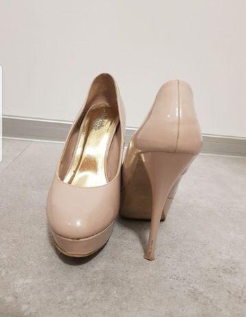 Pudrowe szpilki buty na obcasie Charlotte Russe 37 38 zara hm reserved