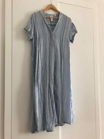 Letnia półdługa sukienka-narzutka w paski (H&M)