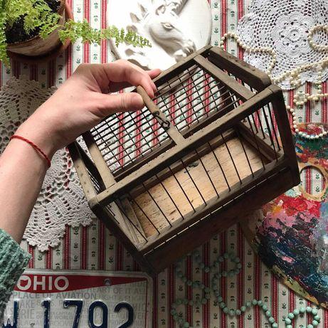 Клетка переноска дерево деревянная ретро винтаж декор