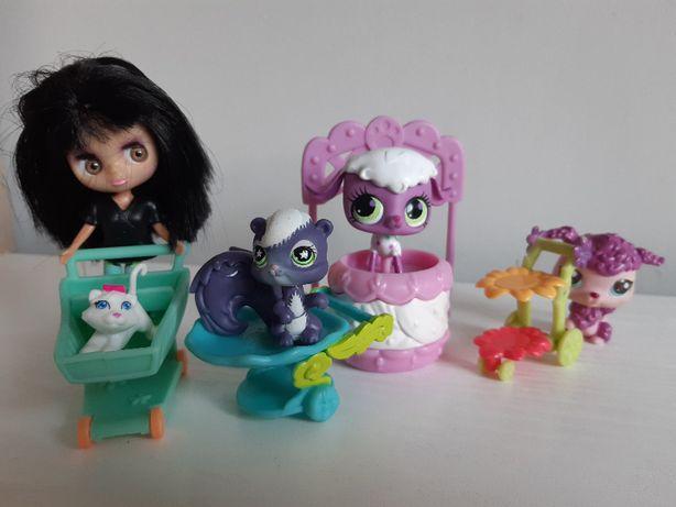 4 zwierzaczki My Littlest Pet Shop i laleczka