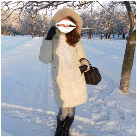 Натуральный зимний пуховик/парка с мехом песца