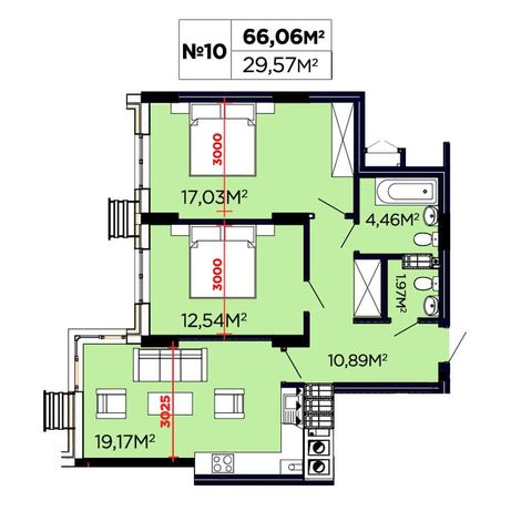 2 кім. квартира 66 м2 ЖК Щасливий 3 черга. Вигляд на Високий замок