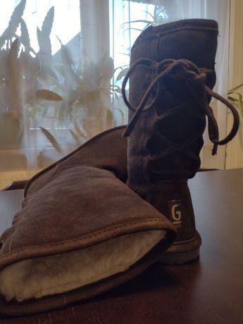 Buty skórzane emu wełna czekoladowe