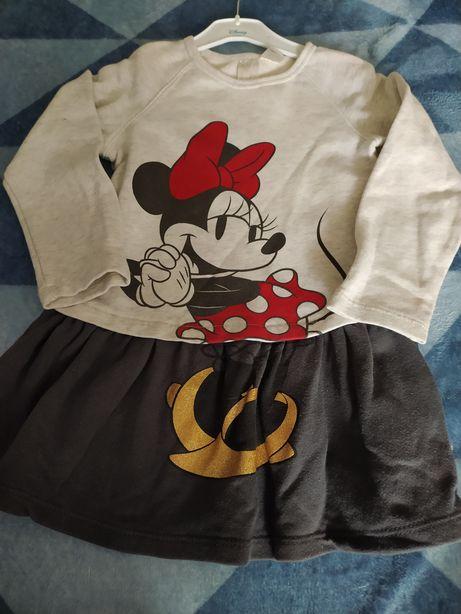Sukienka myszka minnie disney długi rekaw h&m 92/98