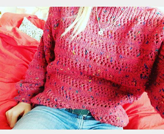 Sweter sweterek ciepły oversize s m czerwony różowy