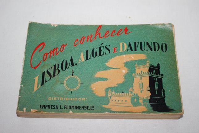 Planta esquemática Lisboa 1955 - Como conhecer Lisboa, Algés, Dafundo