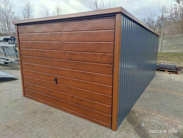 Garaż 3x5 Blaszak kolor orzech grafit brama uchylna drewnopodobny 10.