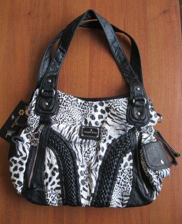 Брендовая женская сумка с леопардовым принтом.