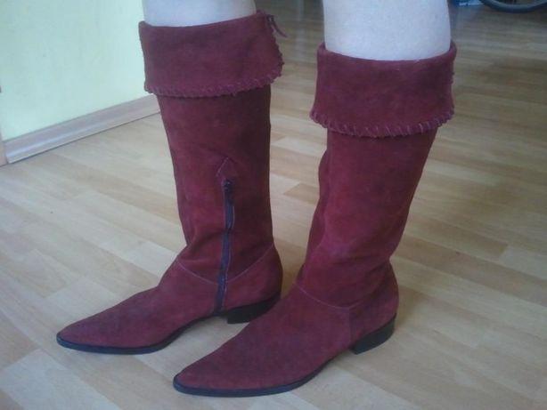 Czerwone argentyńskie botki z czubkami rozm. 39