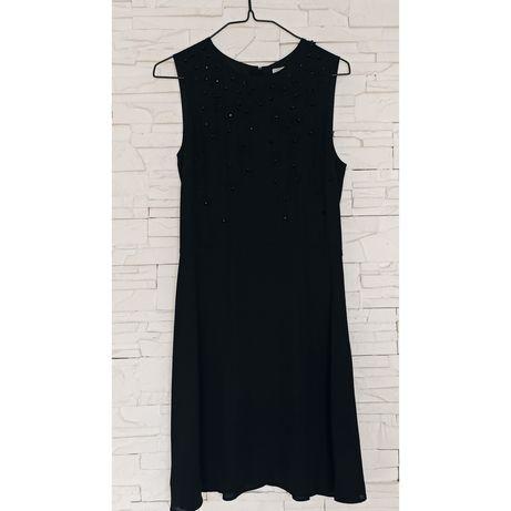 H&M mała czarna sukienka z koralikami i kwiatami XS