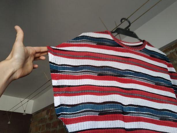 bluzka w paski z krótkim rękawem L