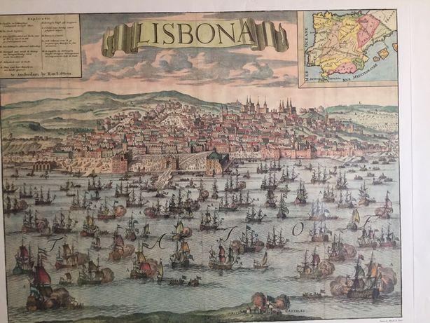 Quadro Mapa Lisboa Antigo