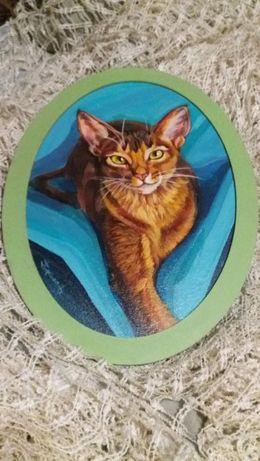 Картина ручной работы Позирующая кошка