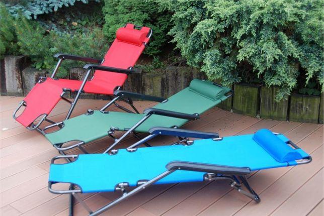 LEŻAK fotel PLAŻOWY OGRODOWY ogród SKŁADANY 3 pozycje kolory