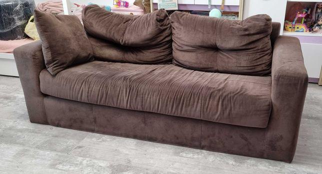 Sofa dwuosobowa czekolada poduchy 180 cm