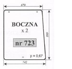 szyba boczna maszyny Pronar 82A, 82SA, 82TSA, 1025A, 1221A ACX390