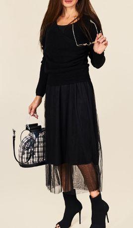 Włoska sukienka + sweterek Jean Louis Francois S/M i M/L