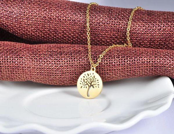 Nowy złoty naszyjnik z zawieszką drzewkiem szczęścia