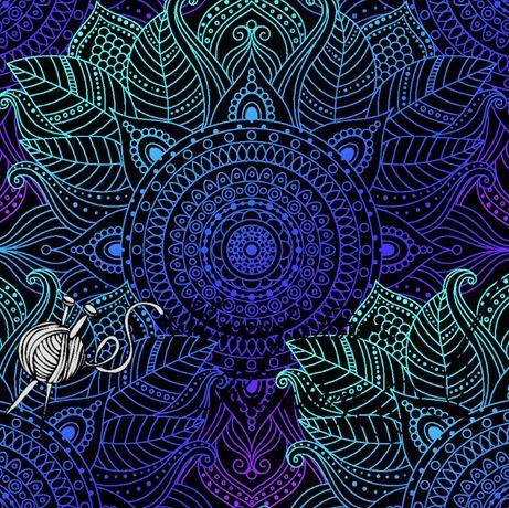 Tkanina tapicerska welur drukowany mandale 1 mb