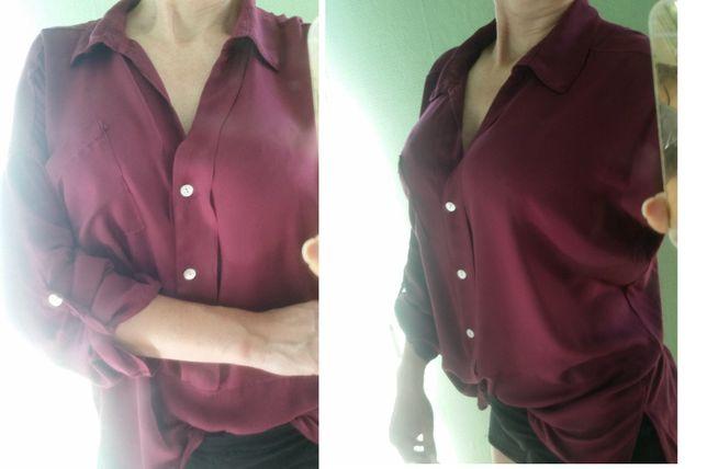 koszula, bluzka, top, oversize, elegancka burgund wyjściowa wizytowa