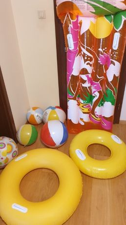 Zabawki plażowe, dmuchańce mega zestaw piłki, koła , materac+gratis
