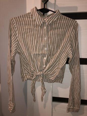 koszula crop wiązana w paski h&m