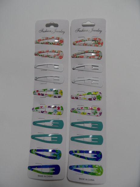 spinki do włosów kolorowe metalowe pyki malowane komplet 20 szt.